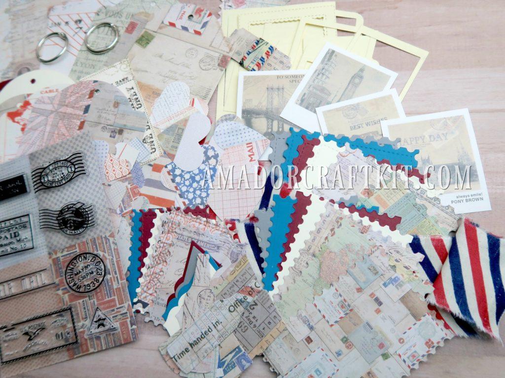 vintage mail mini album kit